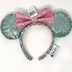 Disney Parks Minnie Ears Mint Green & Pink Sequin